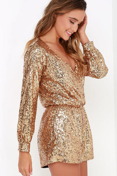 Lulu's Good as Gild Gold Sequin Romper