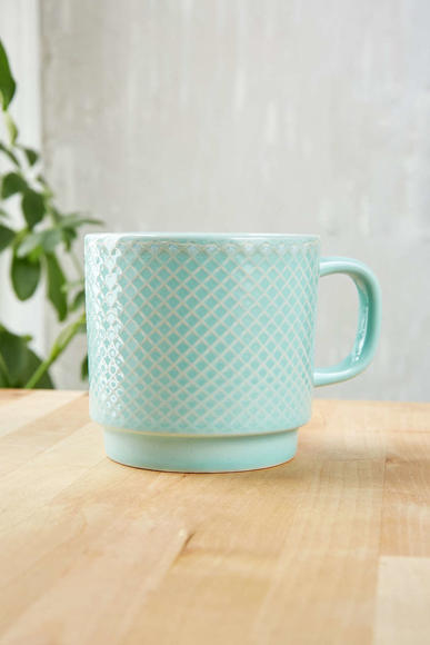 Urban Outfitters Embossed Ceramic Mug in Mint