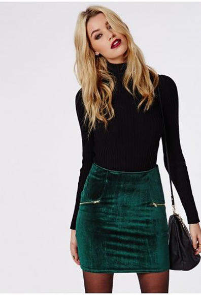 Velvet Zip Detail Mini Skirt