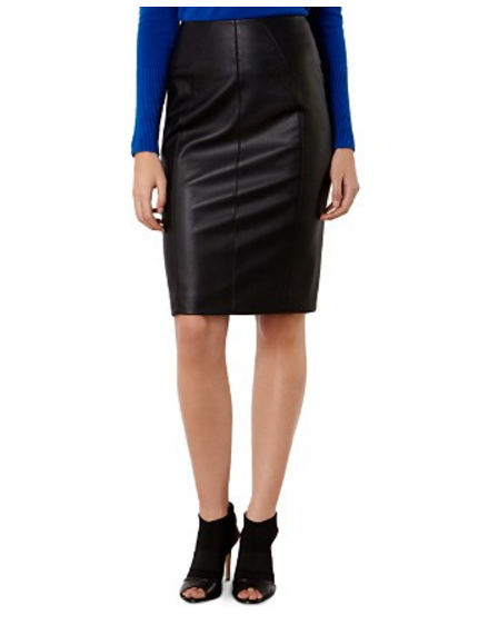 KAREN MILLEN High Waisted Faux Leather Skirt
