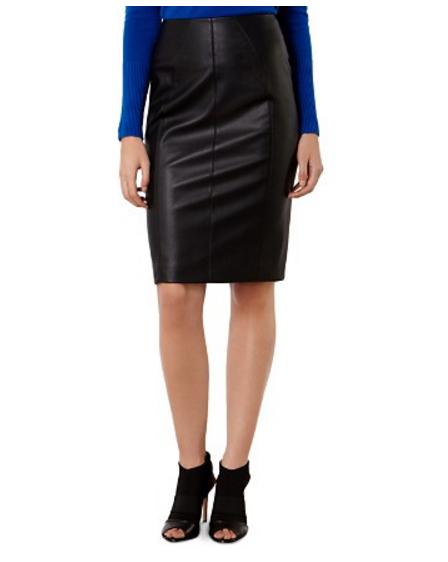 KAREN MILLEN High Waisted Faux Leather Skirt