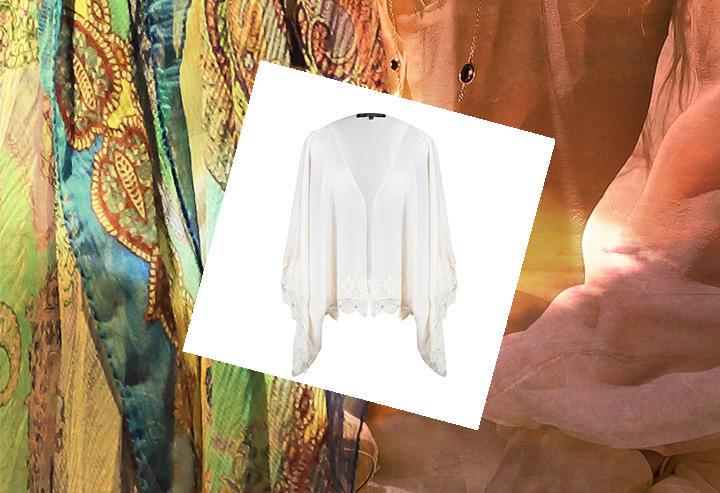 Ivory satin and Venice lace trim kimono