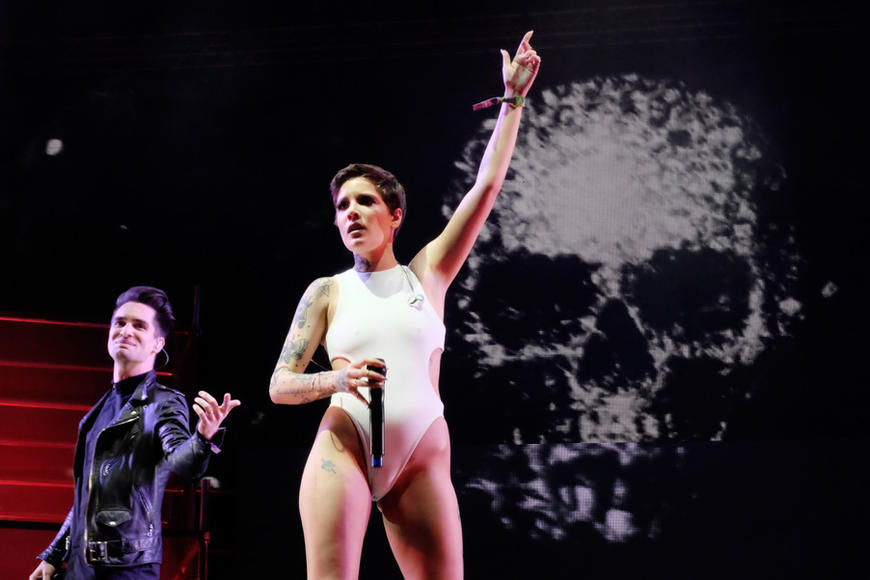 Brendon Urie of Panic! at the Disco joins Halsey on stage