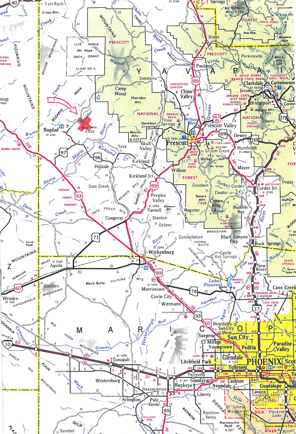 Camp Wood Az Elevation : Acres in yavapai county arizona
