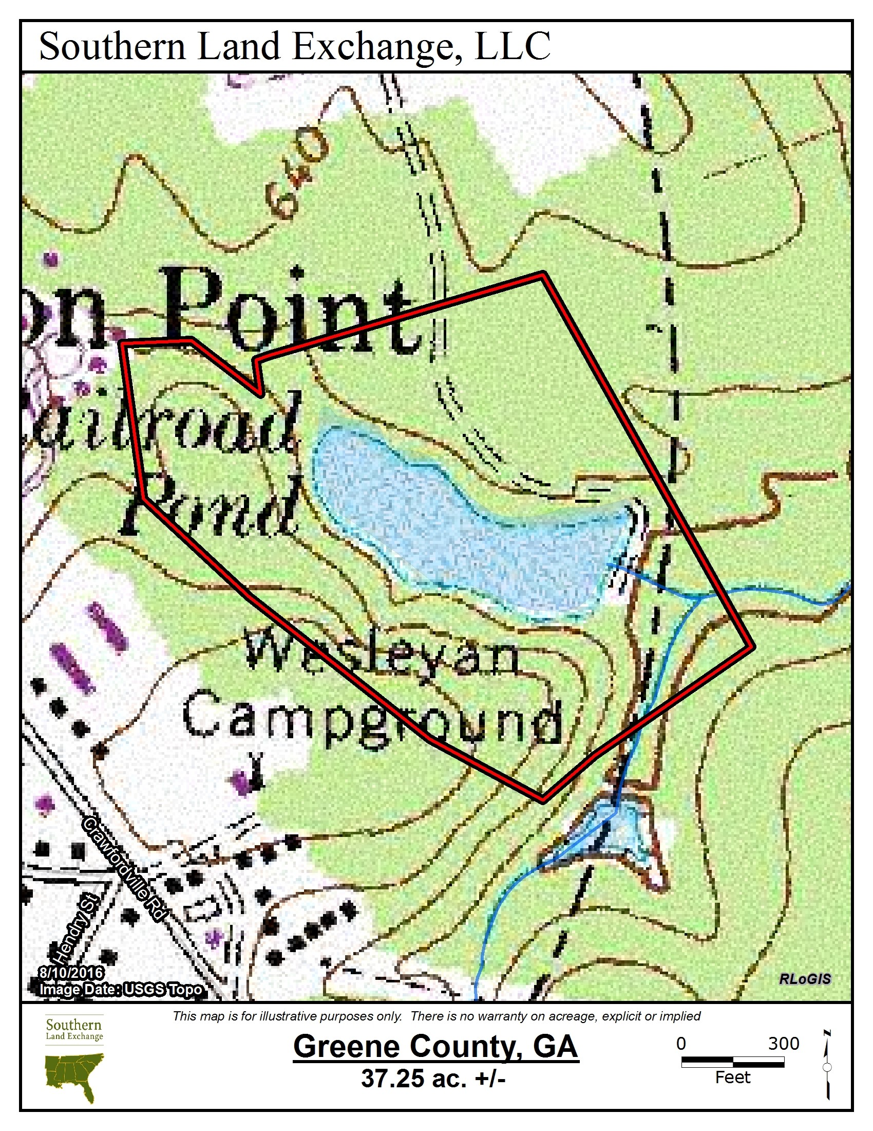 Greene37_USGSTopo.jpg - 37.25 acres of Hunting Land for sale. Crawfordville Road, Greensboro, GA