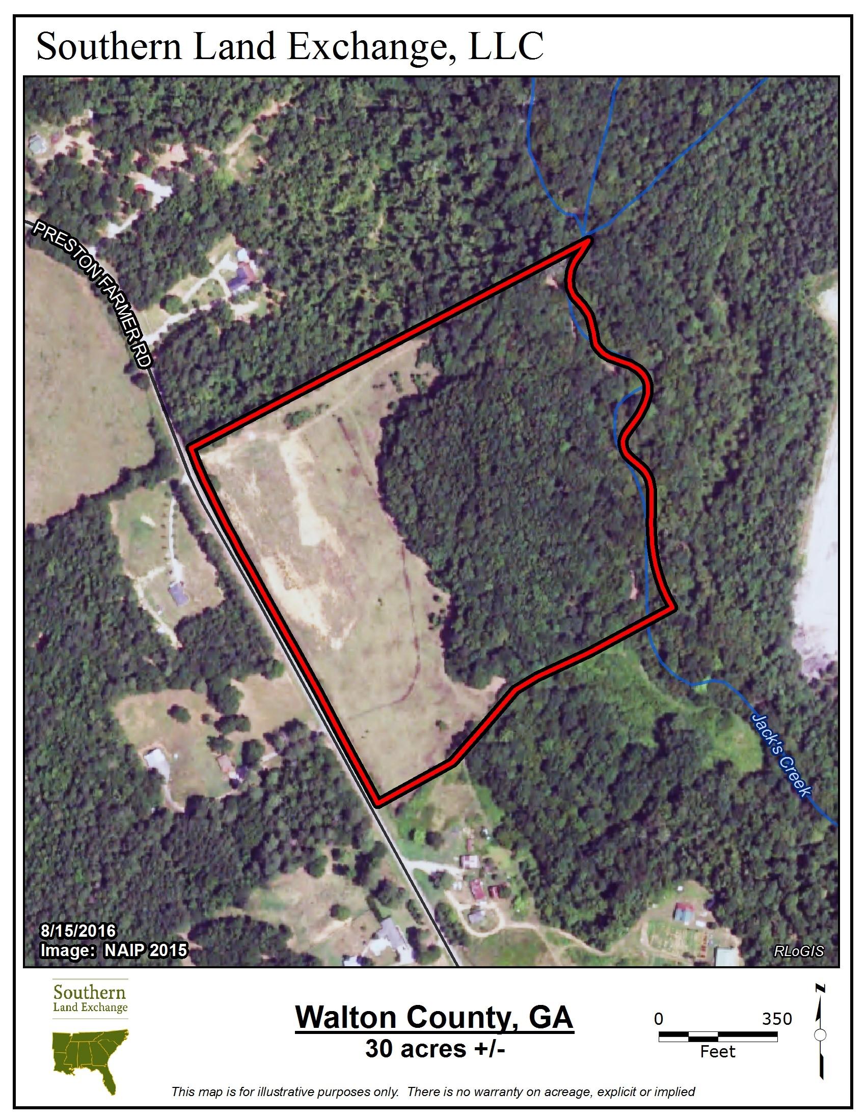 Walton30_Aerial2015.jpg - 30 acres of Recreational Land / Hunting Land for sale. 2650 Preston  Road, Good Hope, GA
