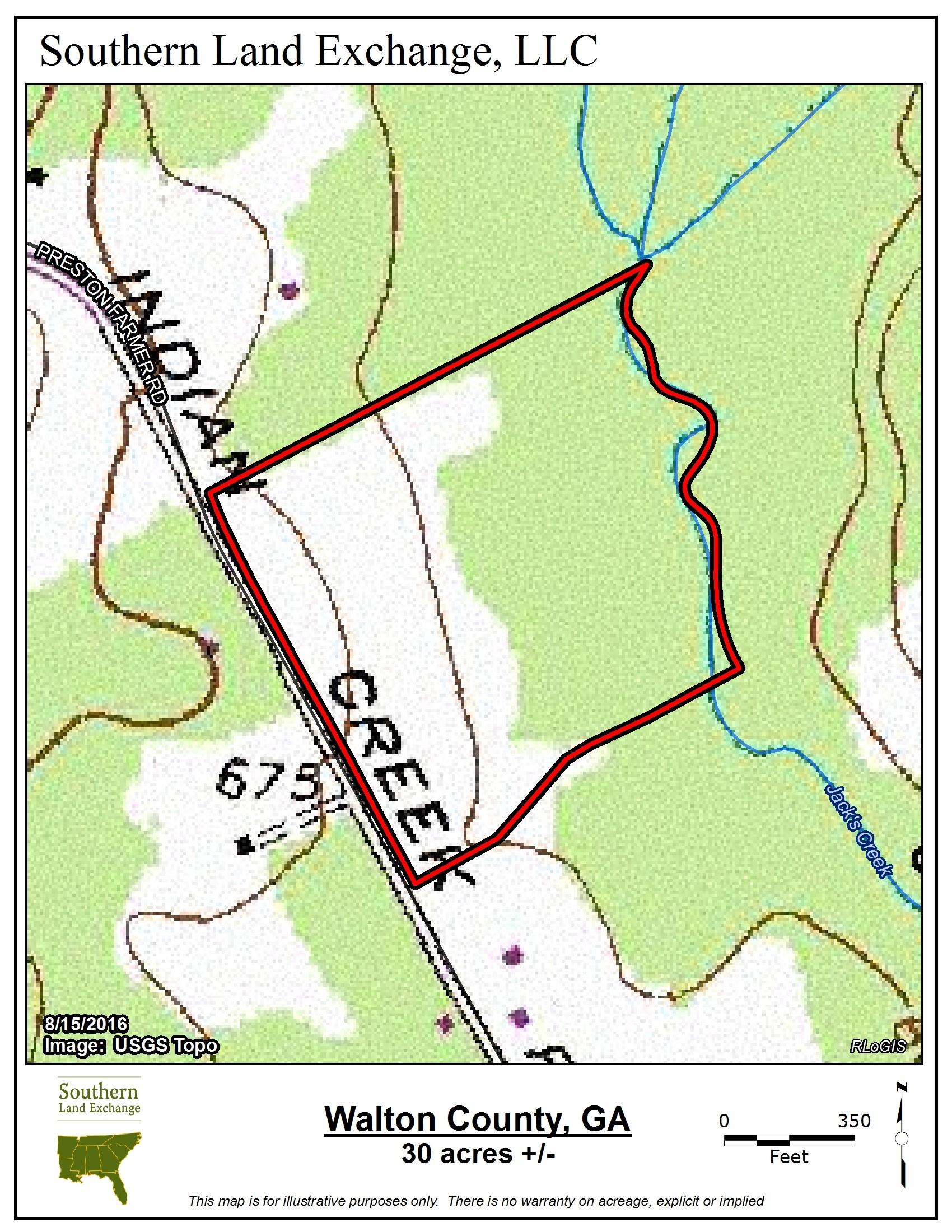Walton30_Topo.jpg - 30 acres of Recreational Land / Hunting Land for sale. 2650 Preston  Road, Good Hope, GA