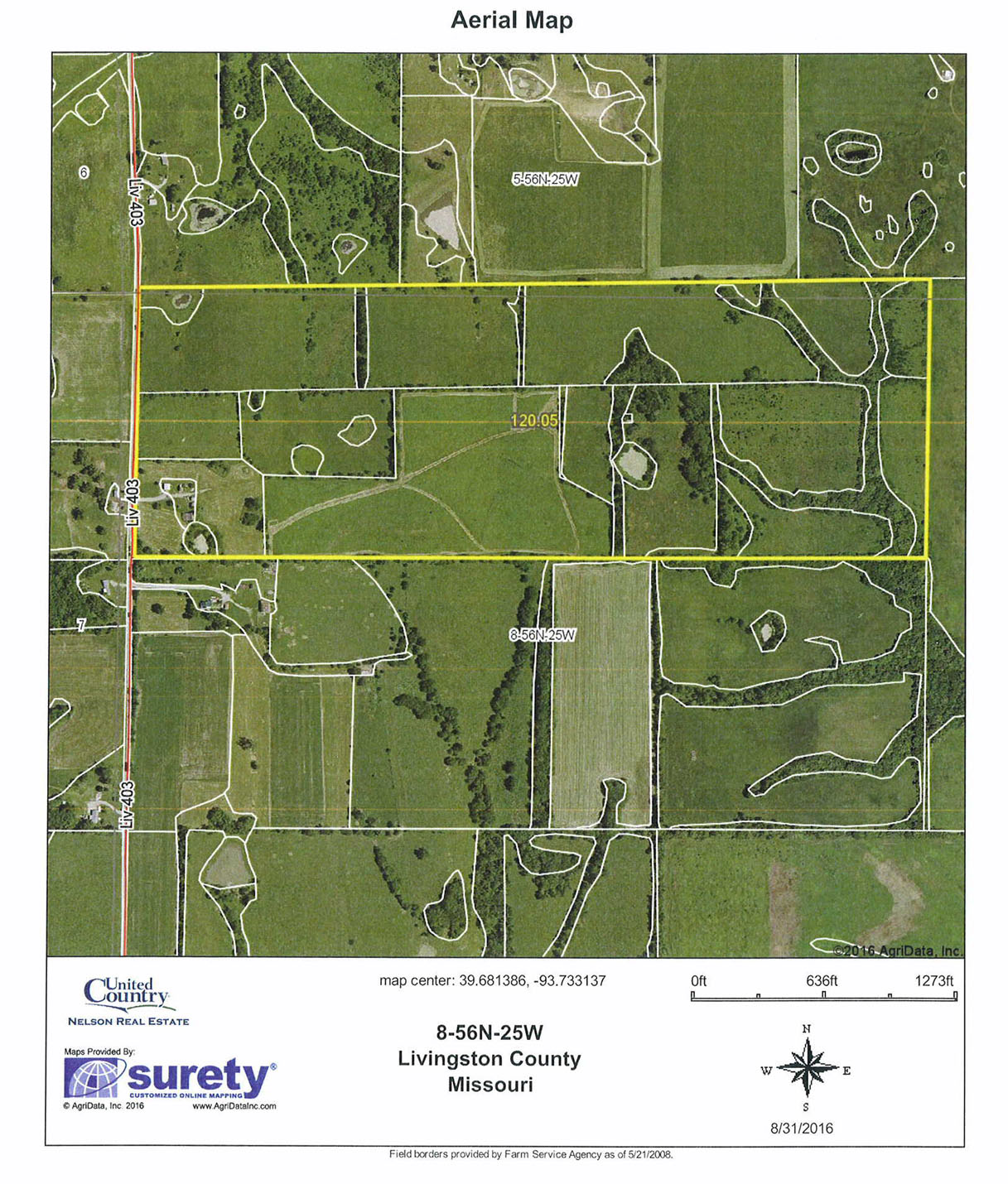 6676_aerial.jpg - 120 acres of Farm for sale. Rural, Ludlow, MO