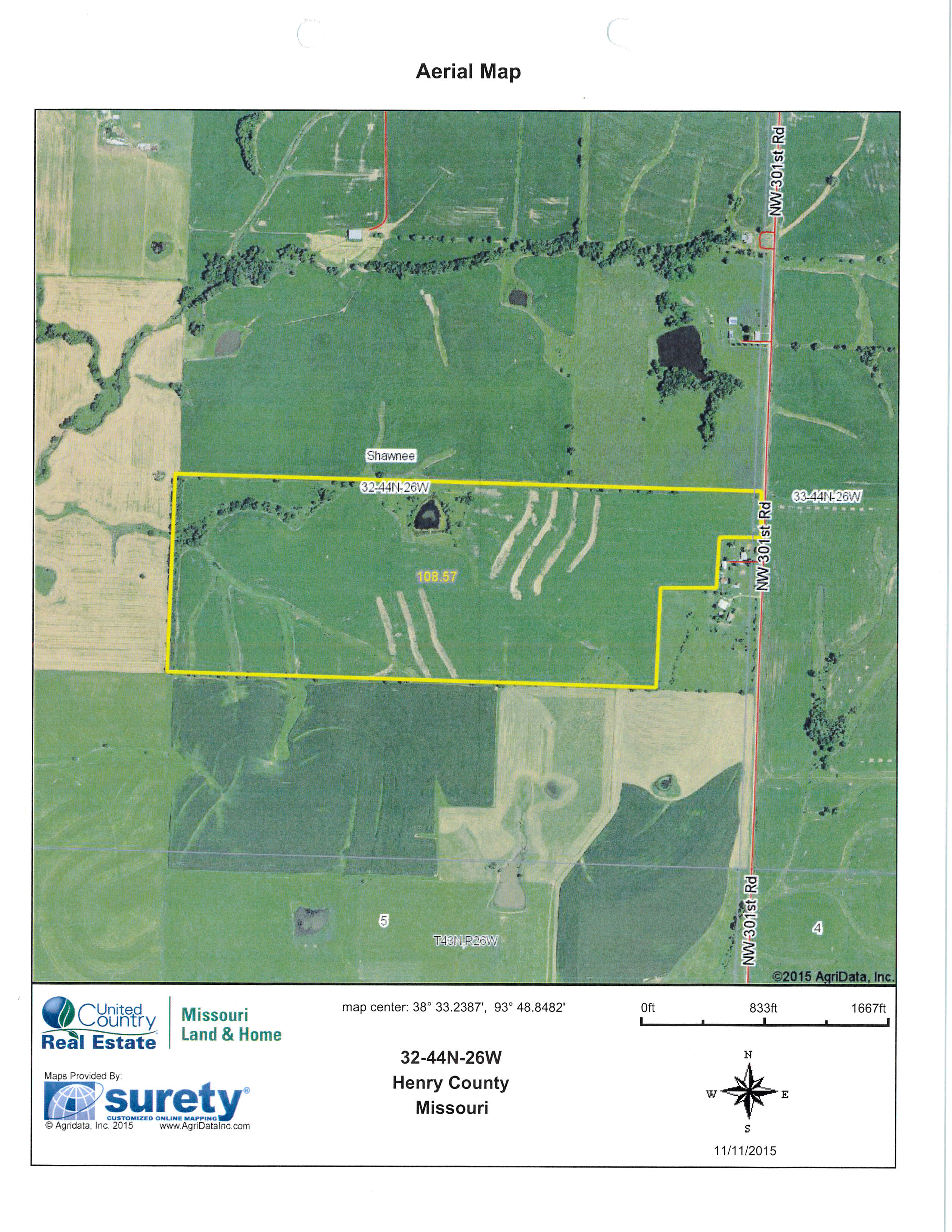 aerial.jpg - 109 acres of Farm for sale. NW 301 Rd, Chilhowee, MO