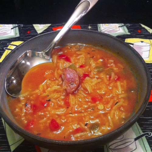 Tomato, Rice and Andouille Soup Image