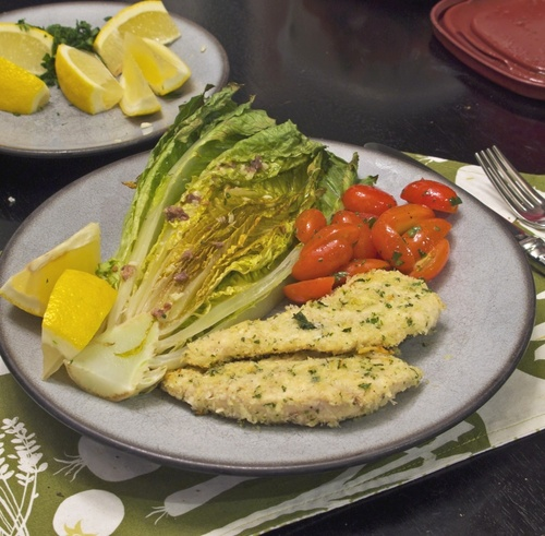 Parmesan Chicken with Caesar Roasted Romaine Image