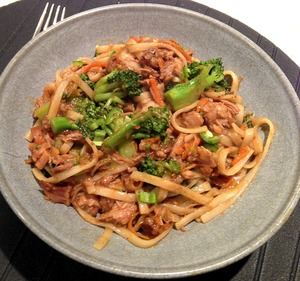 Slow-Cooker Asian Pork With Noodles and Broccoli Image