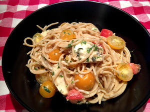 Spaghetti in Garlic Gravy with Herbs and Lemon Marinated Chicken and Cherry Tomatoes Image