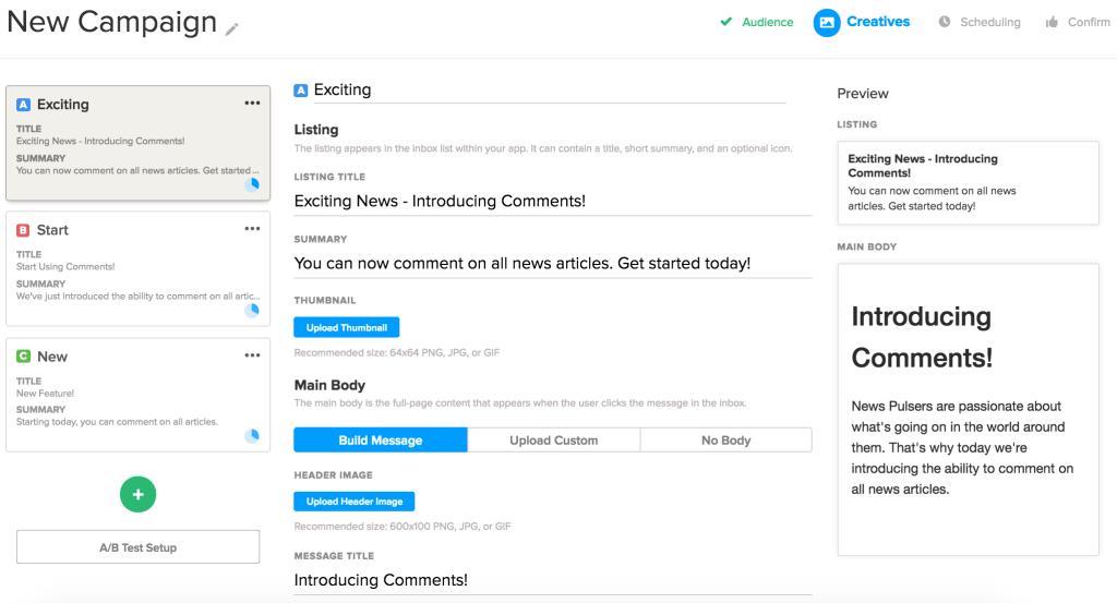 Localytics App Inbox Dashboard Editor