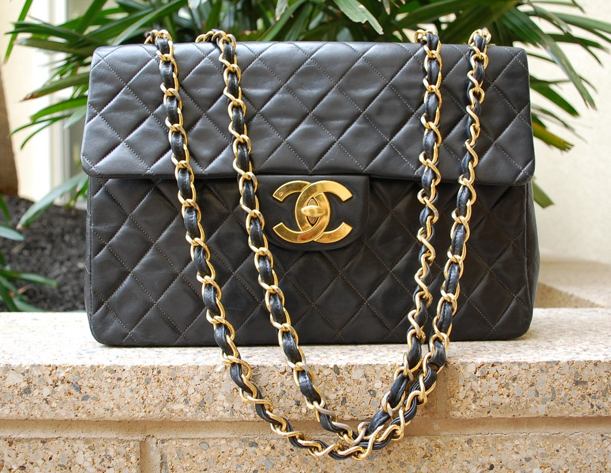 huge Chanel bag with big gold cc logo