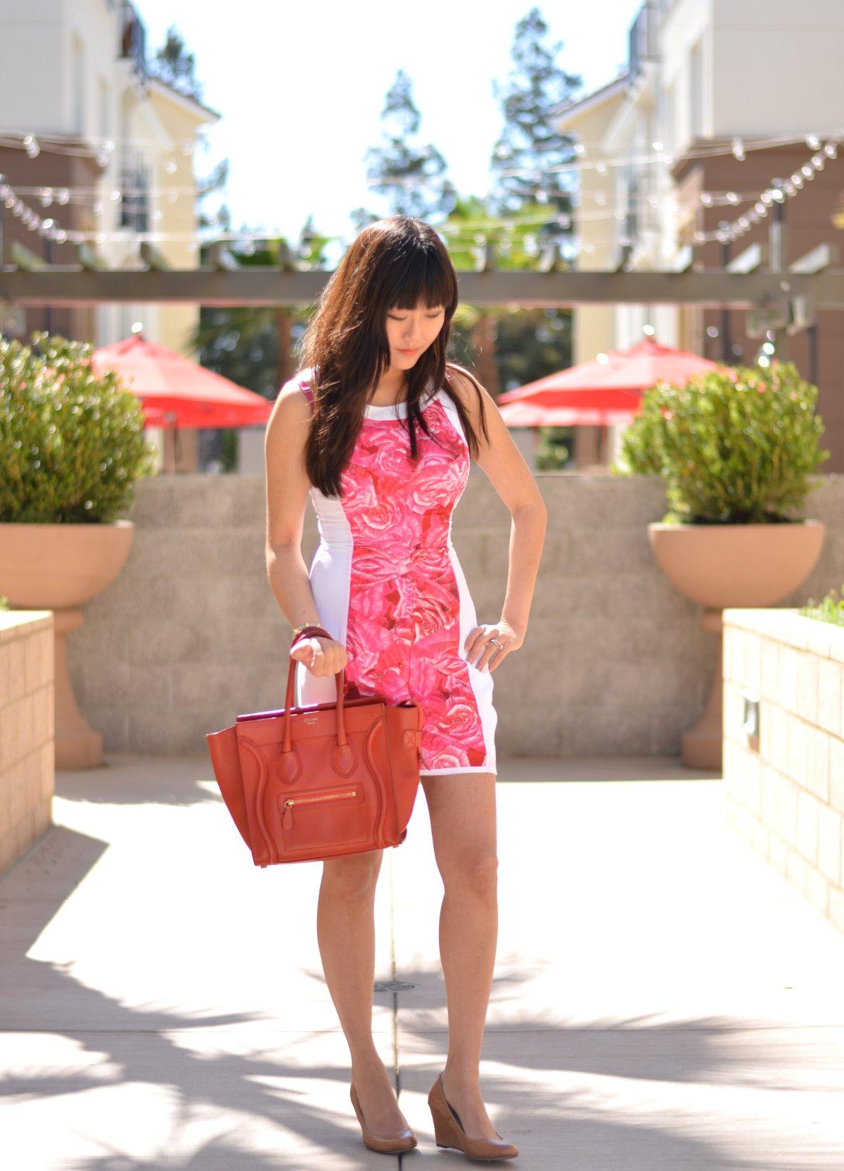 rose and white keepsake mini shift dress beige wedges celine structured handbag  outfit 513fe532ee359