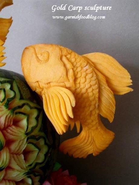 Gold Carp Sculptures Of Pumpkin