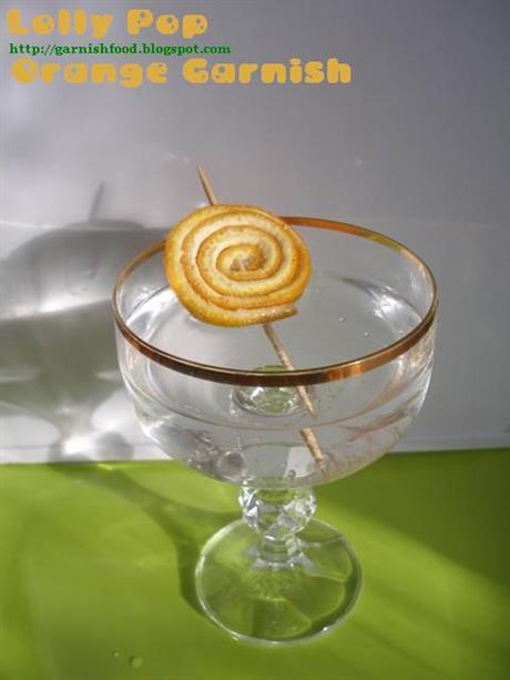 Lollypop orange drink garnish
