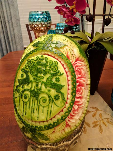 Christmas watermelon carving❤️