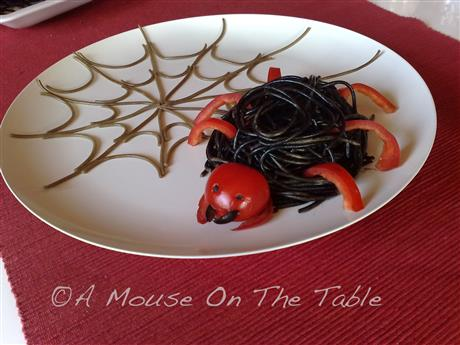 Pasta spider with spider web