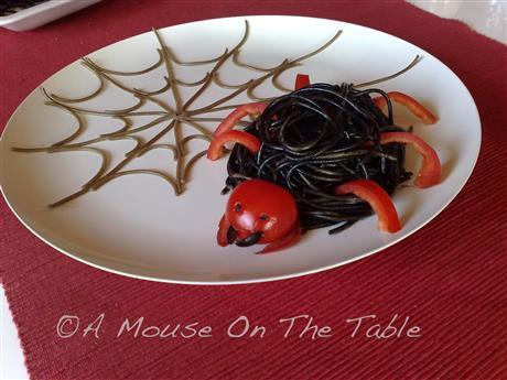 Pasta spider with spider web