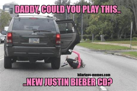 Girl falling off a car