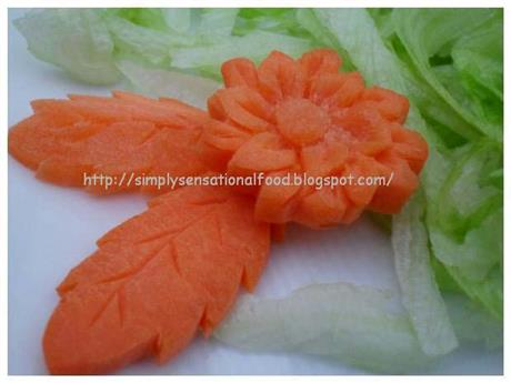 Simple vegetable carvings- Carrot leaves and Flowers