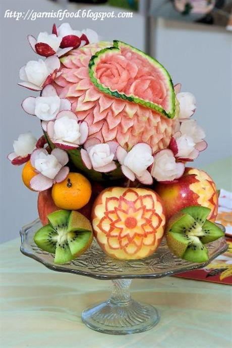 Romantic Fruit Carving Display