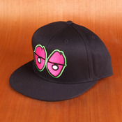 Krooked Eyes Black/Pink/Green Snapback Hat