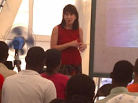 Dr. Kaufman giving a lecture to university students in Haiti