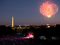 Fireworks over the South Lawn of the White House during the Fourth of July celebration. July 4, 2010. (Official White House Photo by Pete Souza)