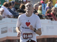 Lane Desborough nears the finish line of the Medtronic Twin Cities Marathon