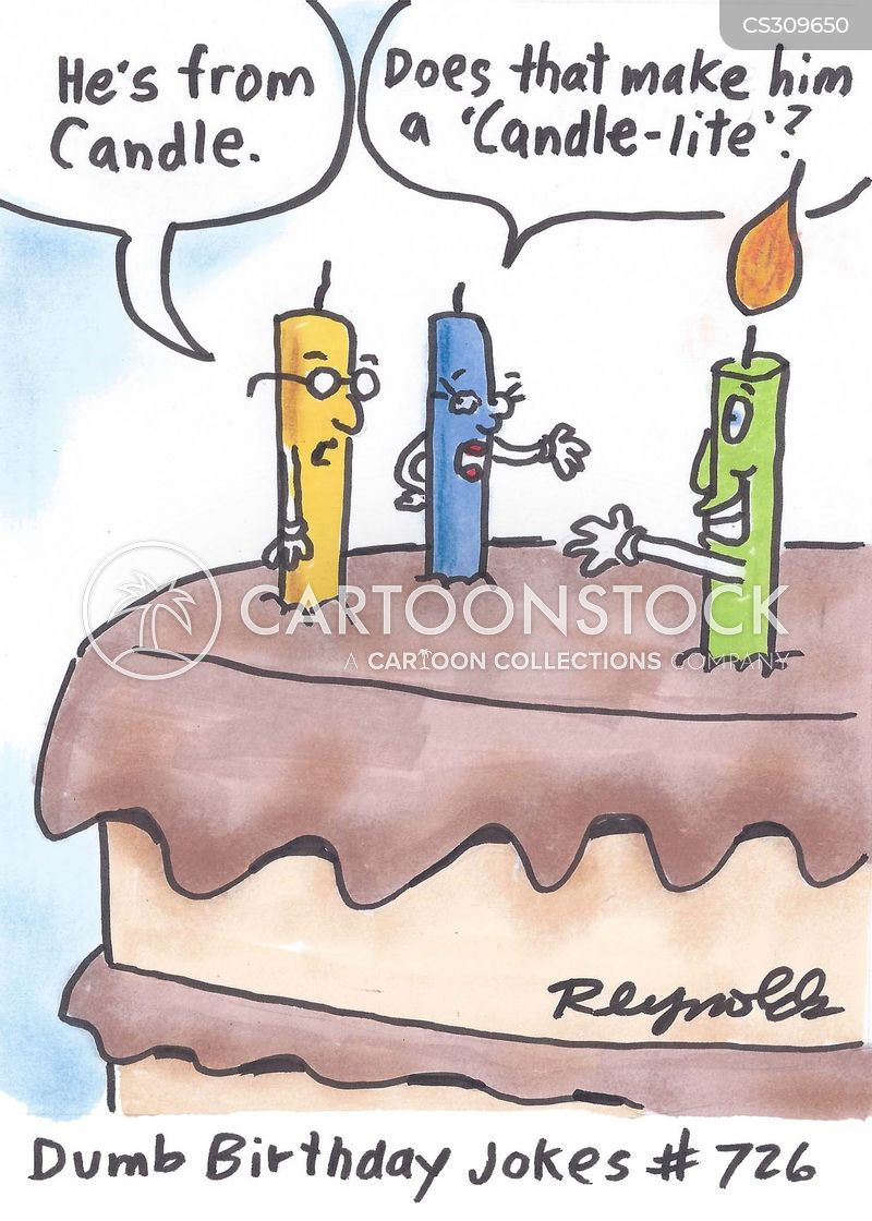 Birthday Card With A Nude Guy With Candle And Cake