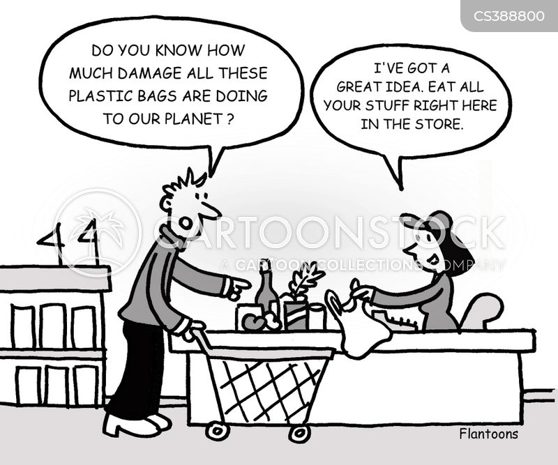 Plastic bags damage to the environment - Plastic Bag Cartoons And Comics Funny Pictures From