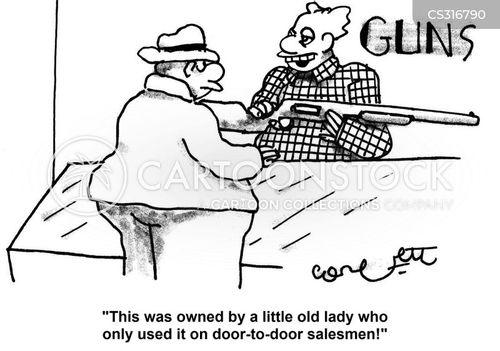 Gun salesman cartoons and comics funny pictures from for Door to door sales