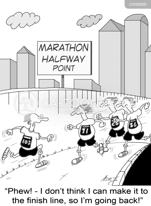 marathon running cartoons
