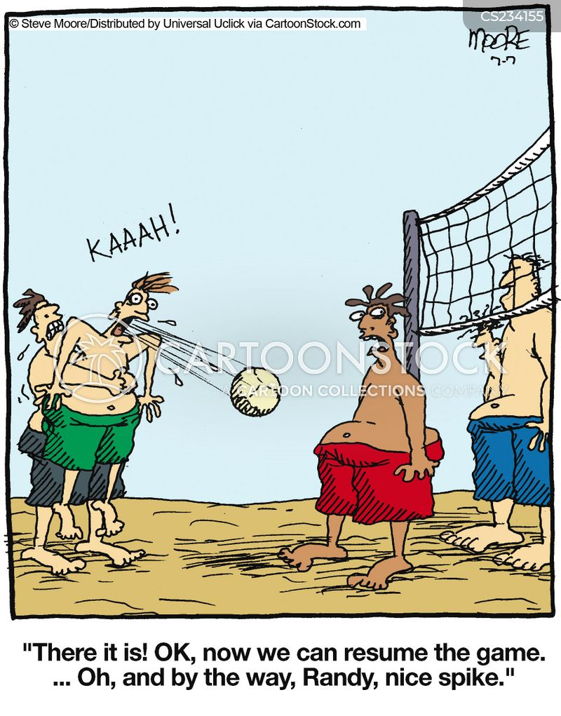 Funny volleyball cartoon