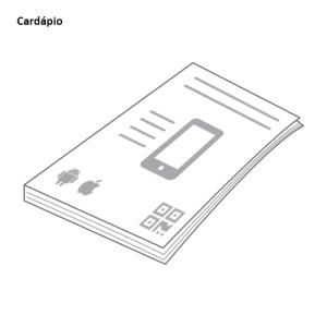 Desenho de um cardápio com a divulgação do app