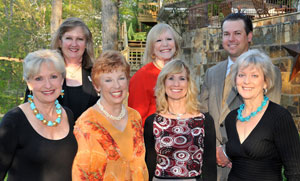 Attending the Sandy Springs ARTss Patron Party (front row, left to right): Bernadine Richard – Director of ARTss Board, Jan Collins – Chair of ARTss Board, Patsy Wharton – Harry Norman, Realtors® sales associate, Peggy Stapleton – Director of ARTss Board. (back row, left to right): Cindy Gentry – Harry Norman, Realtors® sales associate, Sandy Abrams – Harry Norman, Realtors® sales associate and Todd Emerson – Harry Norman, Realtors® managing broker.