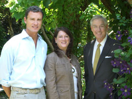(From left to right): David Ellis – Tour garden homeowner, Kimberly Merritt – Chair elect for 2009 tour, and Lewis Glenn – Harry Norman, Realtors® President and CEO.