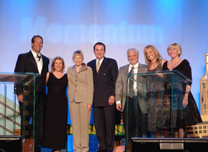 (Left to right): Harley E. Rouda, Jr., Real Living CEO; Jill Rudler of Real Living HER (Columbus, Ohio); Marilyn Vutech of Real Living HER; Jeff Ruff of Real Living HER; John W. DeSantis of Real Living Realty One (Mentor, Ohio); Kaira Sturdivant Rouda, president of Real Living; Barbara A. Reynolds, CEO of Real Living Realty One.