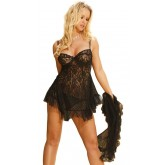 Elegant Moments Lace Babydoll Three Piece Set Black