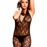 Elegant Moments Deep V Lace Bodystocking Style 1608