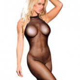 Elegant Moments Plus Size Seamless Fishnet Halter Bodystocking Style 1609Q