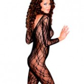 Elegant Moments Deep V Long Sleeve Lace Bodystocking Style 1619