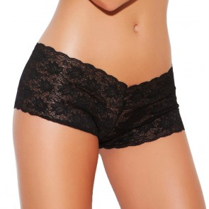 Elegant Moments Low-Rise Cheeky Lace Boyshorts Black Front
