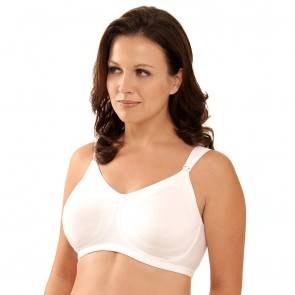 Leading Lady Nursing Molded Sports Bra with Comfort Straps White Front