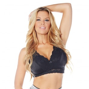 Rhonda Shear Lace PinUp Girl Full Coverage with Pads Leisure Bra Black Front