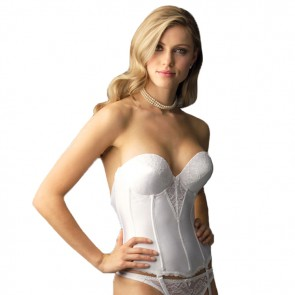 Va Bien Low Plunge Push-up Strapless Torsolette White Front