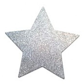 Pastease Rockstar Silver Sparkle Star Nipple Covers